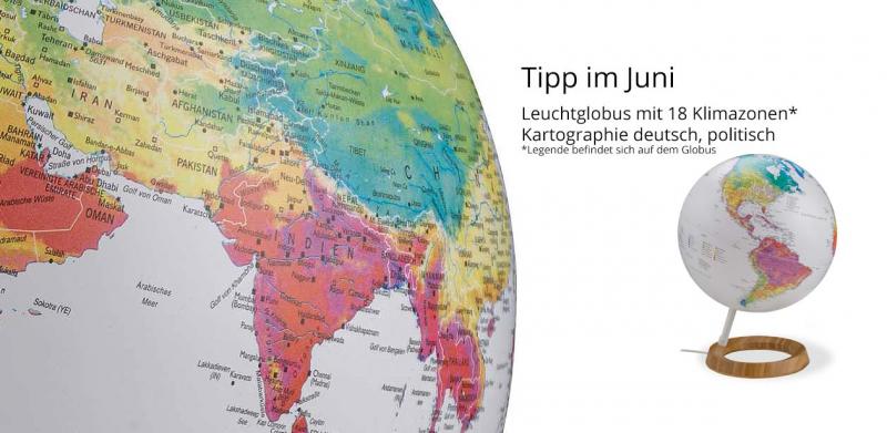 Leuchtglobus mit Klimazonen und deutscher politischer Kartographie