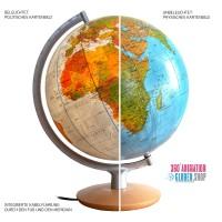 DFNI3017 - Globus beleuchtet mit politischer Kartographie, unbeleuchtet mit physischem Kartenbild