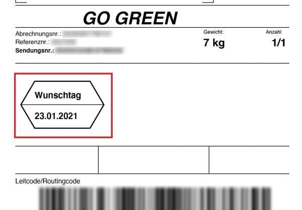 Wunschtag bestimmen (nur innerhalb Deutschlands)